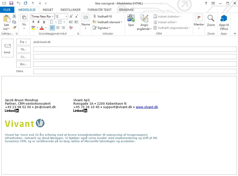 Professionel centralt styret e-mailsignatur